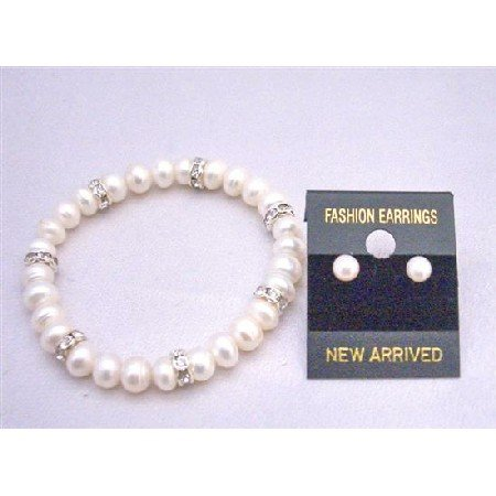 Freshwater Pearls Bracelet Natural Color Pearls W/Silver Rondells&Stud Earrings