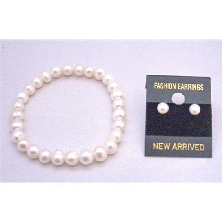 TB748  Wedding Flower Girl Jewelry Freshwater Pearls Stetchable Bracelet W/ Stud Earrings