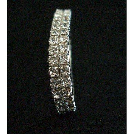TB229  Elegant Glamor Cubic Zircon Bracelet look like Diamond Double Strings