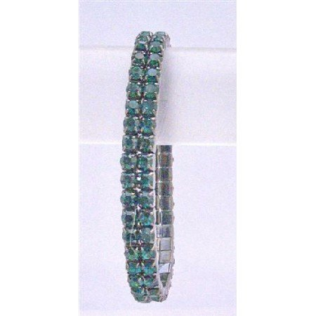 TB741  Green Cubic Zircon Cubic Zircon Stretchable Bracelet Embedded Round Double Strings