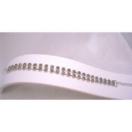 TB697  Double Stranded Embedded w/ Topaz Cubic zircon Wedding BRacelet Sleek Dainty Bracelet
