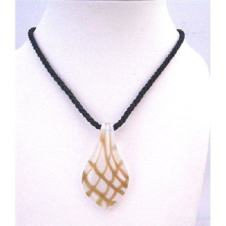 N769 Leaf Pendant Black string Hand Painted Pendant White Glass Pendant Necklace
