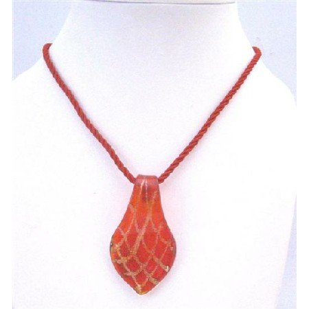 N770  Striking Red Murano Glass Pendant Necklace Hand Painted Christmas Gift Jewelry Gift