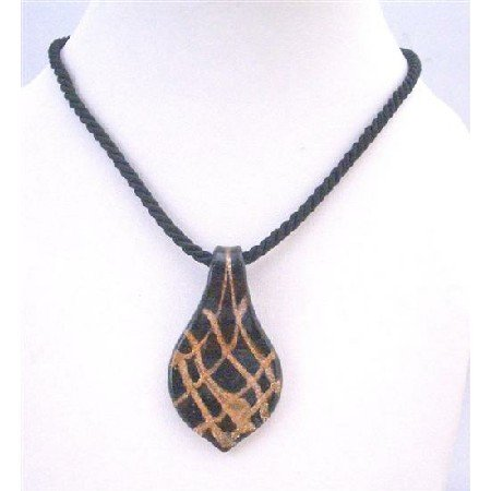 N768  Gorgeous Black Glass Pendant Necklace Murano Glass Hand Painted Sleek Jewelry Gift