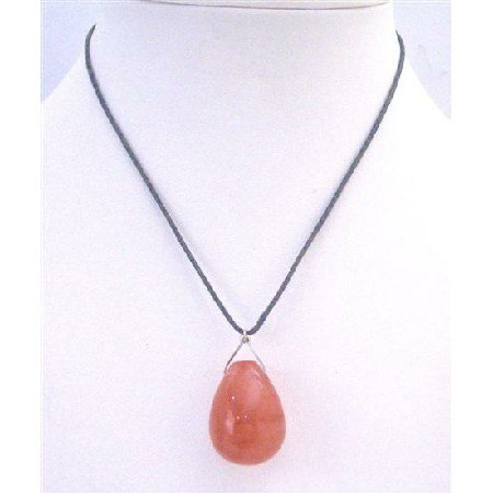 N763 Orange Jade Teardrop Pendant Necklace Glass Teardrop Pendant Inexpensive Jewelry Necklace