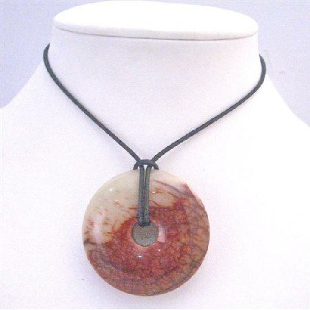 N761  Round Stone Pendant Necklace Carnelian Glass Round Pendant Necklace