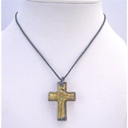 N766  Christmas Gift Golden Cross Pendant Shinning Murano Glass Cross Pendant Necklace