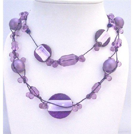 N744 Multi Shaped&Sizes Beads Necklace Purple Pearls Acrylic Beads Interwoven In Beautiful Necklace