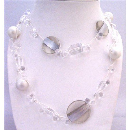 N743  Long Necklace Under $10 White Pearls Clear Acrylic Beads Multi Shaped & Sizes Beads