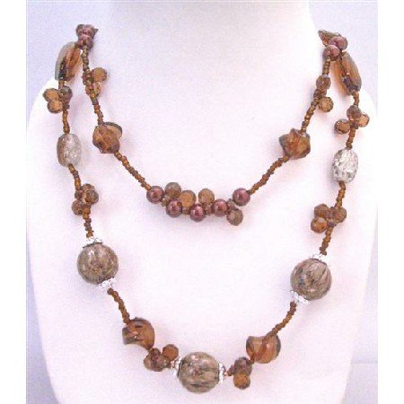 N750  Brown Long Necklace 34 Inches Double Stranded Neckalce Tiny Glass Beads