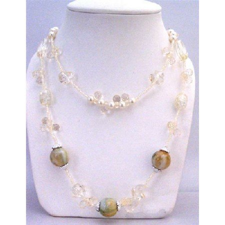 N749  Ivory Tiny Beads Long Necklace Absolutely Stunning Affordable With Round & Multi Shaped
