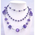 N754 Purple Necklace Three Stranded Necklace W/Disco Balls Acrylic Glass Beads Bali Spacer