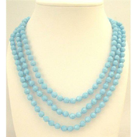 N755  Multi Faceted Beads Long Necklace Can Make 3 Stranded 64 Inches Long Necklace
