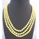 N773 Dainty Delicate Long Necklace w/8mm Multi Faceted Beautiful Yellow Beads Necklace