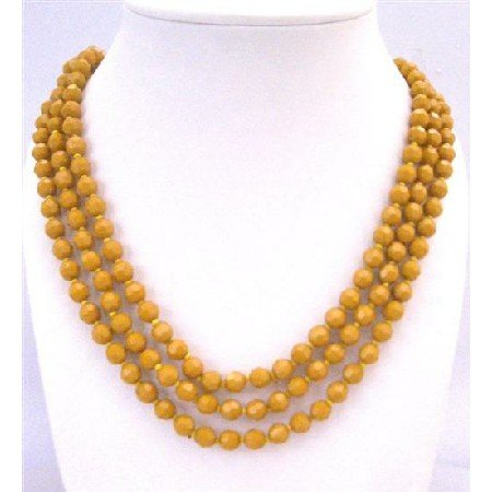 N757  Long Necklace Golden Beads Jewelry Multi Faceted Gold Beds Long 64 Inches Necklace
