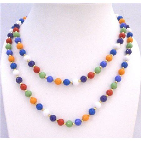 N759  Multi Colored Beads With Golden Beads Spacer 57 Inches Long Necklace