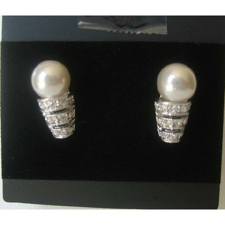 UER060  Cream Pearls Stud Earrings w/ Cubic Zircon Stones Embedded Sleek & Soothing
