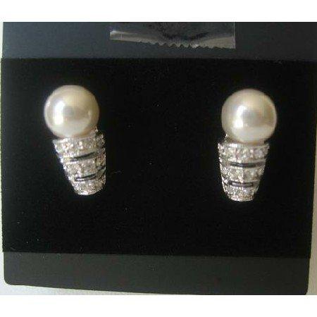 UER060  Cream Pearls Stud Earrings w/ Cubic Zircon Stones Embedded Sleek & Soothing