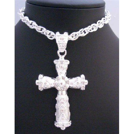 HH189  Long Cross Pendant Fully Embedded With Cubic Zircon Long Necklace