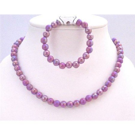 GC141 Girls Jewelry At Affordable Price Shinny Purple Necklace & Bracelet