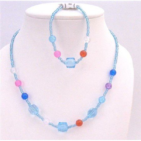 GC144 Aquamarine Beads W/MultiColored Beads Jewelry Girls Necklace & Bracelet