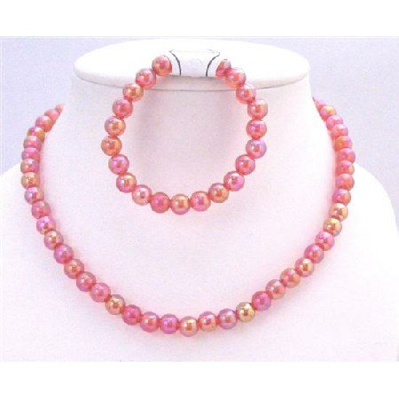GC130  Shiny Red Beads 10mm Round Beads Necklace With Stretchable Bracelet Girls Gift