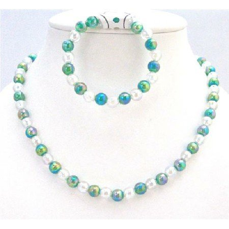 GC138  Necklace & Bracelet Jewelry Green White Round Beads Stretchable Bracelet