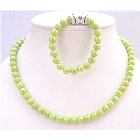 GC142  Light Green Parrot Green Girls Jewelry Round Beads 10mm Very Beautiful Necklace Bracelet Set