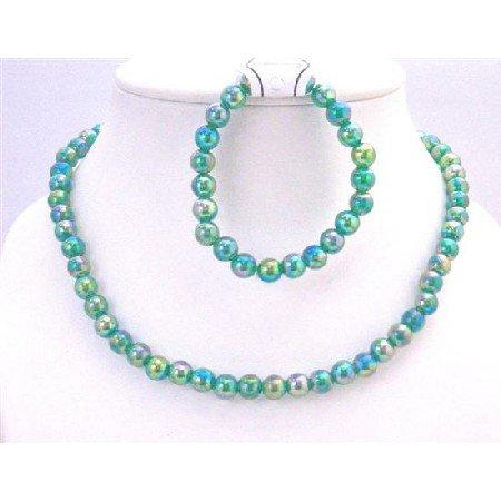 GC132  Girls Gift Jewelry Return Gift Dark Green Round Beads Affordable Price