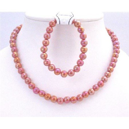 GC133  Pink Red Round 10mm Shinny Beads Necklace Stretchable Bracelet Gift