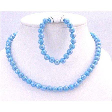 GC136  Turquoise Beads Girls Fashionable Affordable Necklace Stretchable Bracelet