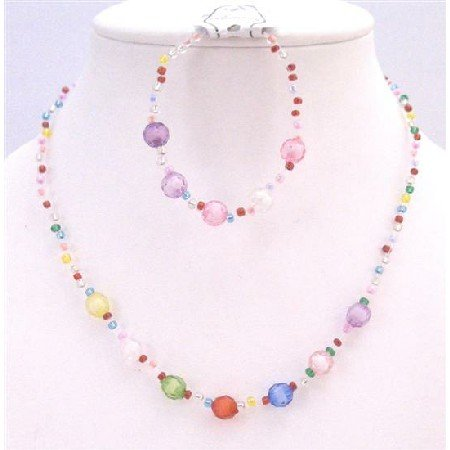 GC143  Multicolored Small Big Beads Jewelry Girls Necklace & Bracelet Fancy jewelry Gift