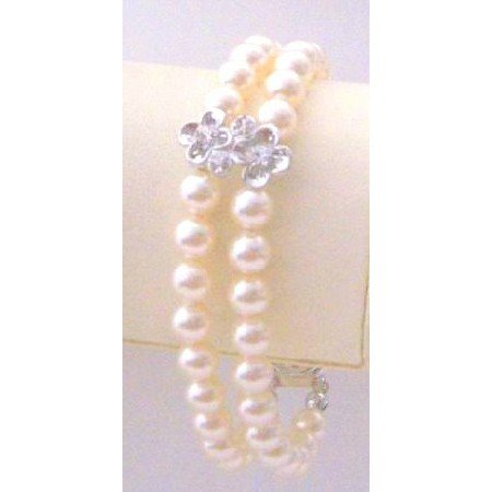 TB865 Bridal Wedding Jewelry Double Stranded Ivory Pearls w/Silver Flower Rondells Spacer