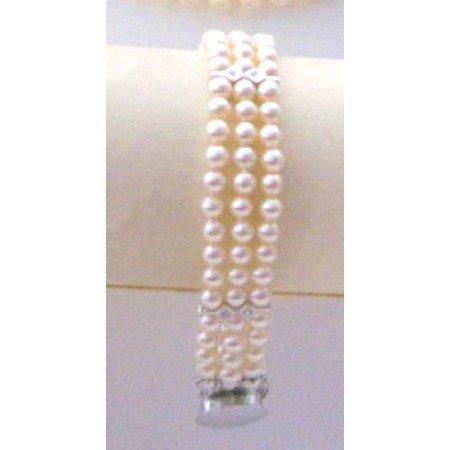 TB864  Ivory Pearls Three Stranded Bracelet Tiny Pearls Bracelet With Diamante Spacer