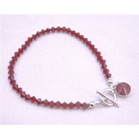 TB862  Handcrafted Customize Siam Red Crystals Round Faceted Crystals Drop Down Bracelet