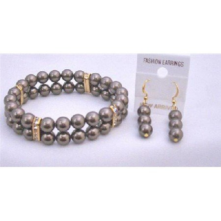 TB858  Brown Chocolate Pearls Stretchable Double Stranded Bracelet Earrings Jewelry Set