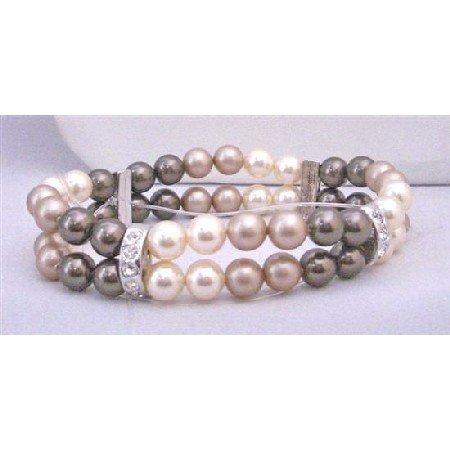 TB857  Double Stranded Stretchable Bracelet 8mm Ivory Brown & Champagne Pearls Bracelet