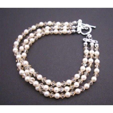 TB852 Three Stranded Bracelet Ivory Pearls w/Golden Shadow Crystals Wedding Bracelet