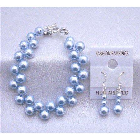 TB844  Double Stranded Blue Pearls Interwoven Bracelet Earrings Jewelry