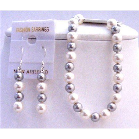 TB837 Color Combo White Pearls & Lite Grey Pearls Bracelet Earrings Set Jewelry
