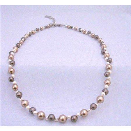 TB830 Swarovski Pearls Bracelets Birdal Bridemaids Bronze Brown & Ivory Pearls Bracelet