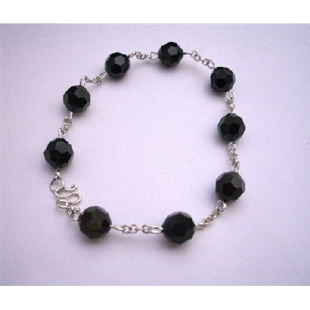 TB827  Round Jet Crystals Bracelet With Genuine Sterling Silver Clasp Hanmade Bracelet Jewelry