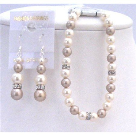 TB825  Wedding Bridal Bridemaids Bracelet & Earrings Set Ivory Pearls & Champagne Pearls
