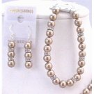 TB818 Swarovski Bronze Pearls Exclusively For Bridal Bridemaids Jewelry Bracelet&Earrings Jewelry