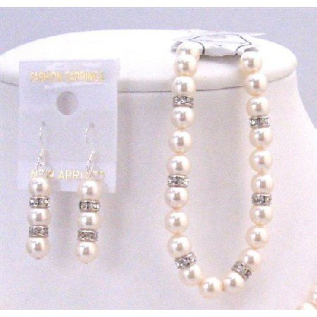 TB817 Swarovski Ivory Pearls Bridal Jewelry Collection Of Bridemaids Ivory Pearls Bracelet&Earrings