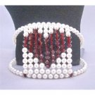 TB811 Swarovski White Pearls With Siam Red Crystals Heart At Center Cuff Bracelet