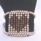 TB810 Bronze Pearls w/Smoked Topaz Crystals Heart At Center Comfortable Flexible Cuff Bracelet