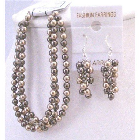 TB808 Swarovski Jewelry Bronze Brown Pearls Three Stranded Bracelet&Sterling Earrings&Clasp Bracelet