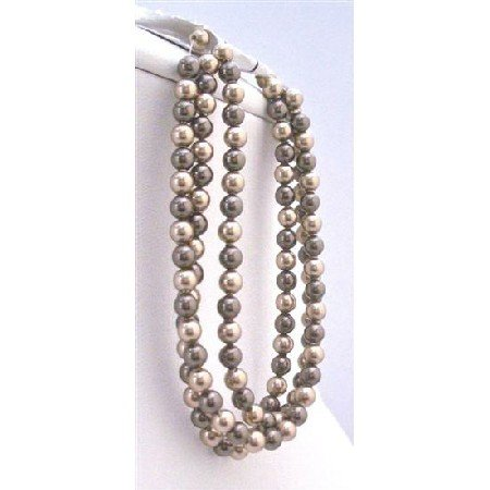 TB807  Exclusively Gorgeous Wedding Bracelet Bronze&Chocolate Brown Pearls 3 Stranded