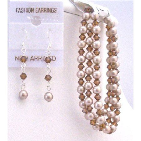 TB806 Champagne Pearls Smoked Topaz Crystals Bridal Beautiful Affordable Bracelet&Earrings